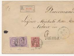 1888 UMBERTO RACCOMANDATA 2 X0,50 + 0,10 NAPOLI X PARMA SIGILLI CERALACCA INTEGRI - Marcofilía