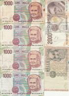 LOT 6 BANCONOTE ITALIA 2000/1000 VF (HB510 - Otros