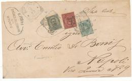 1893 BITONTO FRONTESPIZIO RACCOMANDATA TRICOLORE UMBERTO 0,45+ 0,10+0,05 - Marcofilía