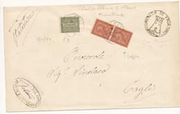 1894 FRONTONE OTTAGONALE DI COLLETTORIA RURALE SU 2X0,02 + 0,01 VITTORIO EMANUELE II+ TIMBRO ARALDICO - Marcophilie