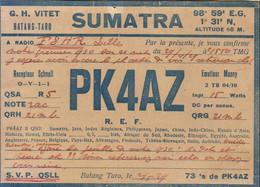 SUMATRA RADIO AMATEUR PK4AZ CARTE QSL 1929 - Radio Amatoriale