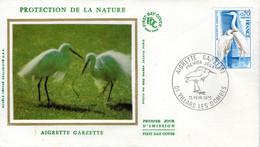 Enveloppe Fdc. Protection De La Nature. Aigrette Garzette. Villars Les Dombes. 15/02/1975 - 1970-1979