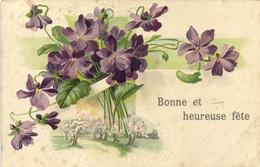 Carte Gaufrée Violettes Bonne Et Heureuse Fete  RV - Other