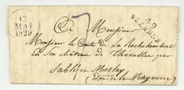 49 SEZANNE Esternay 1829 Pour Sablé Et Meslay Chateau De Thevalles Rochelambert - 1801-1848: Precursors XIX