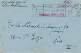 """1938 GRIFFE """" Torpilleur FOUGUEUX """" Sur Lettre FM DISPOSITIF SPECIAL MEDITERRANÉE Obl ALGER Algérie 27/6/38 - Scheepspost"""