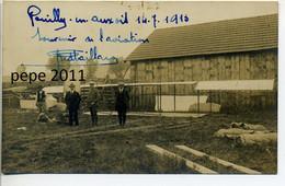 CARTE PHOTO 21 POUILLY En AUXOIS - Fête Aviation 1913 - Autographe Original Aviateur Fred PAILLARD - Avion Démonté - Other Municipalities