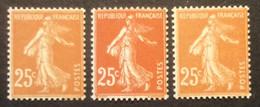 235 - 1 ** Semeuse 25c Jaune Brun Neuf ** Lot 3 Nuances De Couleurs - 1906-38 Semeuse Camée