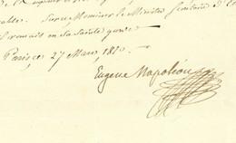 Eugene Rose De BEAUHARNAIS (1781-1824) LS Paris 1810 Autographe Vice-roi D'Italie Fils Adoptif De Napoleon Ier - Handtekening