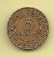British Honduras 5 Cents 1972 Britisch Territory Bronze Coin - Colonias