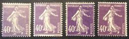 236 - 2 * Semeuse 40c Violet Neuf * Lot De 4 Nuances De Couleurs - 1906-38 Säerin, Untergrund Glatt