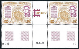 POLYNESIE 1987 - Yv. PA 197A = 197 En Paire **   Cote= 14,20 EUR - Tryptique Expo Phil. Intern. Capex'87  ..Réf.POL25627 - Nuovi