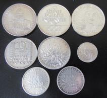 France - 8 Monnaies En Argent Dont 3 X 100 Francs 1983, 1987, 1991 + 5 Francs Semeuse 1960, 10 Francs 1931, Etc... - Verzamelingen