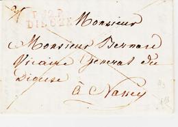 France, P52P DIEUZE En Rouge /rose  En 1822 Taxe 2 Manuscrite  B Ind 18  ( 300 ) - 1801-1848: Precursori XIX