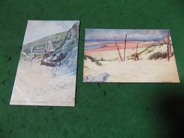 VINTAGE WALES: GWYNEDD Barmouth X2 Art Frank Emanuel Tuck Oilette - Caernarvonshire