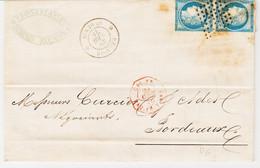 France,  Réunion , De Saint Denis En 1876  Pour Bordeaux  Sur Paire N°60 ND    TB - Storia Postale
