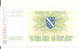 BOSNIE HERZEGOVINE 5000 DINARA 1993 VF P 16 - Bosnia And Herzegovina