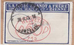 Schweiz -BIENNE - Firmen-Freistempel Im Oval,vorfrankiert Auf Klebezettel - 1915 - Máquinas De Franquear