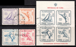 Cuba 1960 Mi# 669-672, Block 18 Used - 17th Olympic Games, Rome - Used Stamps