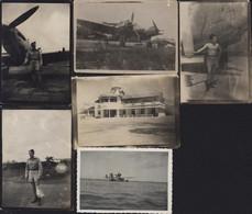 Indochine Photographie Photos X6 Aviation Base Militaire 1946 / 1950 Saigon Aéroport Hydravion Avion Reconnaissance FAFL - War, Military