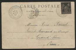 1901 NIEVRE N° 103 Obl. C. à D. Facteur Boîtier ST VERAIN EN PUISAYE 6/8/01. (voir Description) - 1877-1920: Semi-moderne Periode
