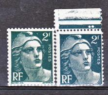 France  713 Variété Plus Petit Vert Bleu Et Normal  Marianne De Gandon Neuf ** TB MNH Sin Charnela - Abarten: 1945-49 Ungebraucht