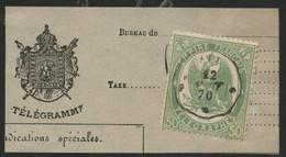 """TELEGRAPHE N° 6 50 Ct Vert Dentelé Obl. C. à D. Ondulé """"AIX 12/8/70"""" Sur Un Fragment De Télégramme (voir Description) - Telegraaf-en Telefoonzegels"""