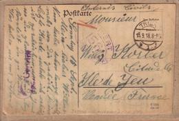 ALLEMAGNE DOUBS VENDEE - KRIEGSGEFANGENENSENDUNG - CARTE DE TRIER VIA PONTARLIER POUR INTERNE CIVIL ÎLE D' YEU - 1918 - Cartas