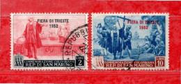 San. MARINO °- 1952 - FIERA Di TRIESTE.   Unif. 385-389.   Usato. Come Scansione. - Used Stamps