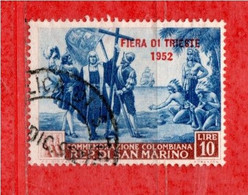 San. MARINO °- 1952 - FIERA Di TRIESTE.   Unif. 389.   Usato. Come Scansione. - Used Stamps