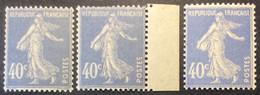 237 - 2 ** Semeuse 40c Outremer Neuf ** Lot De 3 ( Un BdF) Nuances De Couleurs - 1906-38 Semeuse Camée