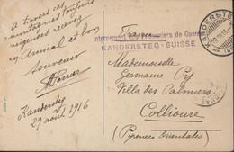 Cachet Internement Des Prisonniers De Guerre Kandersteg Suisse CAD Kandersteg 29 VIII 16 Guerre 14 18 CPA Kandersteg FM - Documents