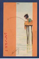 CPA Kirchner Raphael Art Nouveau Femme Woman écrite Voir Dos Geisha - Kirchner, Raphael