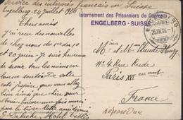 Cachet Internement Des Prisonniers De Guerre Engelberg Suisse Guerre 14 18 CAD Engelberg 25 VII 16 CPA Engelberg FM - Documents