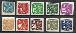 TCHECOSLOVAQUIE    -   Timbres Pour Journaux  -   1945 .  Y&T N° 26 à 35 **.  Facteur - Timbres Pour Journaux