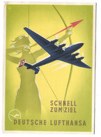DEUTSCHE LUFTHANSA Schnell Zum Ziel Art Deco AK Europa-Südamerika 1939 Nach DK Gegangen - 1939-1945: 2a Guerra