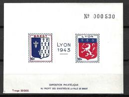 France Libération Bloc Lyon 1943 Neuf ** MNH. TB. A Saisir! - Liberación