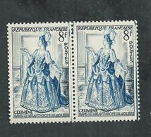 No 856 Célimène En Paire Avec Petite Variété Trait Bleu Dans La Marge - Kuriositäten: 1950-59 Ungebraucht