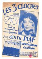 """Partition """" Les 3 Cloches """" Edith PIAF Et Les Compagnons De La Chanson - 196...? - Chanteur, Chanson, Musique, Vedette, - Scores & Partitions"""