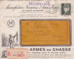 """42-Enveloppe """"Recommandé"""" Avec Courrier"""" Manufacture Française Armes Et Cycles St-Etienne"""" à MASFARAUD Janaillat CREUSE- - 1921-1960: Moderne"""