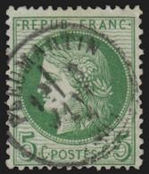 France N°53, Oblitéré Càd Type16 PLEUMARTIN Vienne, Cérès 5c Vert-jaune - TB - 1871-1875 Ceres