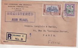 "CEYLAN : REC . "" COLOMBO "" . POUR PARIS . 1954 . - Sri Lanka (Ceylon) (1948-...)"