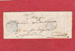 LAC Paris Vers Angoulème - Cachet N°2520 En Bleu Service 5 - 7éme Distribution - 1855 - 1849-1876: Période Classique