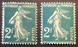 239 - 1 ** Semeuse 2f Vert Bleu Neuf ** Lot De 2 Nuances De Couleurs - 1906-38 Semeuse Camée
