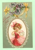 K1169 - Carte Gaufrée Fantaisie - Petite Fille En Robe, Enfant, Children, Little Girl - Bonne Fête - Fleurs - Other