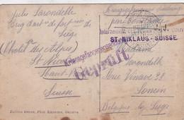 KRIEGSGEFANGENENSENDUNG - J.LARONDELLE BRIG.D'ART.DE FORT DE LIEGE - L'HOTEL DES ALPES ST.NICOLAS SUISSE  2 SCANS - Kriegsgefangenschaft