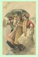 K1172 - Carte Fantaisie - Homme Avec Parapluie Abritant 4 Jeunes Filles - Style Vienne, Viennois - 1904 - Women