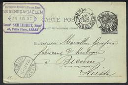 FRANCE 1897: CP Entier De 10c D'Arras Pour La Suisse, Obl. CAD - Zonder Classificatie