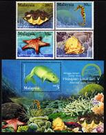 Malaysia - 2001 - Marine Life Series V - Stamp Week 2001 - Mint Stamp Set + Souvenir Sheet - Malaysia (1964-...)