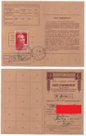 STRASBOURG - BISCHHEIM - ALSACE / 1945 - GANDON # 733 SEUL SUR CARTE D'ABONNEMENT  (ref 7721d) - Covers & Documents