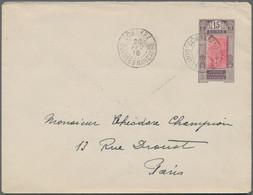 Französisch-Guinea: 1918 (20.2.), Stat. Envelope 15c. Violet/carmine 'Natives In River' Commercially - Unclassified